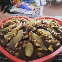Yogurt chocolate cake with pears and walnuts
